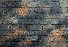 Dark old brick wall. Empty abstract background with dark old brick wall Stock Photo