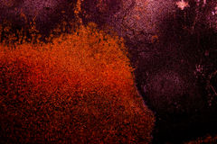 Dark old scary rusty rough golden and copper metal surface texture/background for Halloween or haunted house games background/text Stock Photo