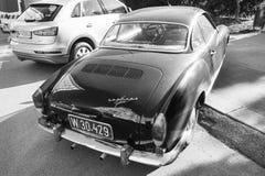 Dark old-timer Volkswagen Karmann Ghia, rear Royalty Free Stock Photo