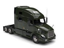 Dark olive green semi trailer truck - top down view royalty free illustration