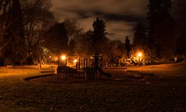 Dark Ominous Playground. Dark park, children playground at night, ominous Royalty Free Stock Images