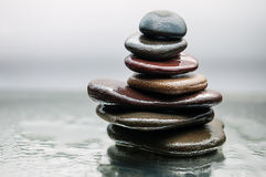 Free Dark Or Black Rocks On Water, Background For Spa, Relax Or Wellness Therapy Royalty Free Stock Images - 66265789