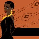 Dark orange banner with dark-skinned woman Stock Image