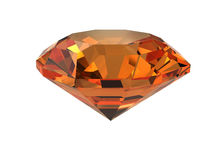Dark-orange gemstone isolated on white Stock Images