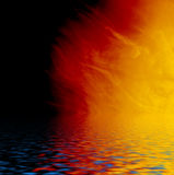 Dark-orange gradient reflected in water. Stock Photography