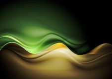 Dark orange and green waves template Royalty Free Stock Image