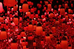 Dark orange lamp teamlab borderless. This is the dark orange lamp teamlab borderless odaiba tokyo japan royalty free stock photography