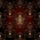 Dark ornate damask 3d seamless pattern. Vector floral shiny back. Ground. Vintage hand drawn ornaments, flowers, leaves, swirls, lines. Surface texture. Luxury Stock Image