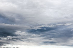 Dark overcast sky with grey clouds during rainy day. Dramatic overcast sky with grey clouds during rainy day royalty free stock images