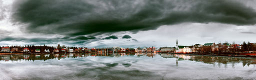 Dark panorama Reykjavik Royalty Free Stock Photos