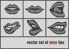 Dark paper lips Stock Images