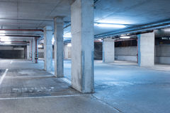 Dark parking garage industrial room interior. Stock Images