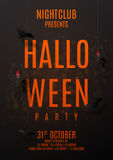 Dark party flyer for halloween. Vector illustration. Festive card with spiders on spider web. Invitation to nightclub with paper bats Royalty Free Stock Image