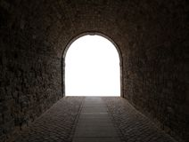 The dark passageway in city on white background Royalty Free Stock Photos