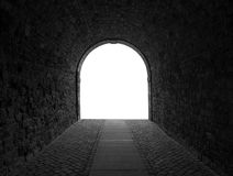 The dark passageway in city on white background Stock Images