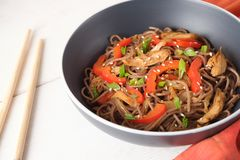 Dark pasta with steamed vegetables and grilled chicken. Delicious buckwheat noodles with vegetables and chicken stock photography