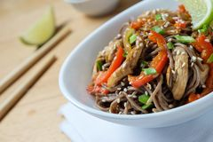 Dark pasta with steamed vegetables and grilled chicken. Delicious buckwheat noodles with vegetables and chicken stock images