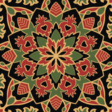 Dark pattern of mandalas. Oriental pattern of mandala. Vector red and green ornament on a black background. Template for shawl, textile, carpet Royalty Free Stock Image