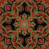Dark pattern of mandalas. Oriental pattern of mandala. Vector red and green ornament on a black background. Template for shawl, textile, carpet Royalty Free Stock Photography