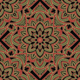 Dark pattern of mandalas. Oriental pattern of mandala. Vector red and green ornament on a black background. Template for shawl, textile, carpet Stock Photography