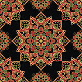 Dark pattern of mandalas. Oriental seamless pattern of mandalas. Vector red and green ornament on a black background. Template for shawl, textile, carpet Royalty Free Stock Images