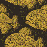 Dark pattern with yellow fishes Stock Photo