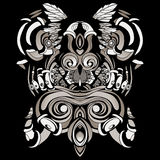 Dark patterns in the style of shamans with feathers and leaves. A dark, abstract pattern with feathers and swirls Stock Images