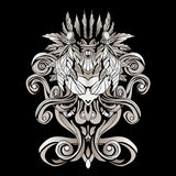 Dark patterns in the style of shamans with feathers and leaves. A dark, abstract pattern with feathers and swirls Stock Photography