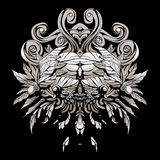 Dark patterns in the style of shamans with feathers and leaves. A dark, abstract pattern with feathers and swirls Royalty Free Stock Image