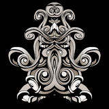 Dark patterns in the style of shamans with feathers and leaves. A dark, abstract pattern with feathers and swirls Stock Photo