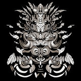 Dark patterns in the style of shamans with feathers and leaves. A dark, abstract pattern with feathers and swirls Royalty Free Stock Photography