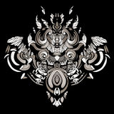 Dark patterns in the style of shamans with feathers and leaves. A dark, abstract pattern with feathers and swirls Royalty Free Stock Photo