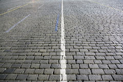 Dark paving stone roadway. Moscow, Russia, 20 september, 2013 Royalty Free Stock Image