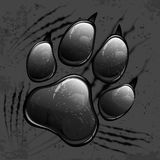 Dark paw print and scratches Royalty Free Stock Photo