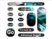 Dark PDA Mobile Web Interface Buttons Stock Image