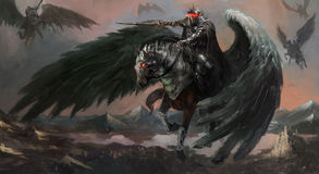 Dark pegasus. King leading his army Stock Photo
