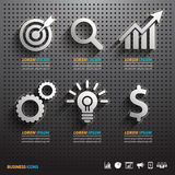 Dark pegboard background with business Tools. Royalty Free Stock Photo