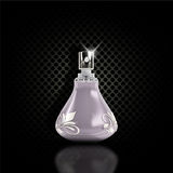 Dark perforated metal background with 3D perfume bottle Royalty Free Stock Image