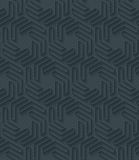 Dark perforated paper with outline extrude effect. 3d seamless wallpaper. Vector background EPS10 Royalty Free Stock Photo