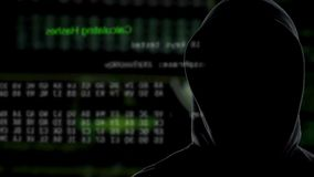 Dark person monitoring process of transferring data from government servers. Stock footage stock video
