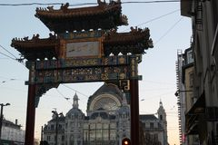 Chinatown Gate in Antwerp stock images