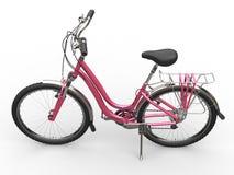 Dark pink bicycle - top view Stock Photos