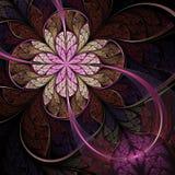 Dark pink fractal flower, digital artwork Stock Image