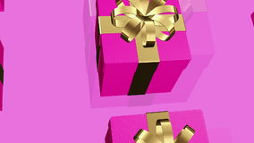 Dark pink Gift boxes on a pink stock video