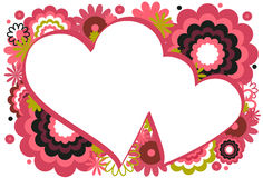 Dark Pink Heart Frame. Collage of flowers and circles featured around a heart on a white background Stock Photo