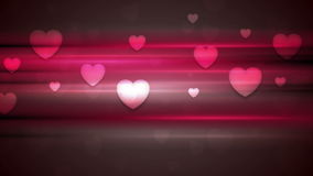 Dark pink hearts and glowing stripes motion design stock video