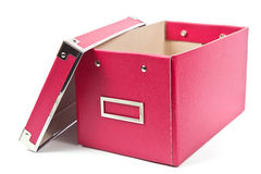 Dark pink paper box on white background Stock Images