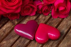 Dark pink  roses with hearts and tag Royalty Free Stock Image