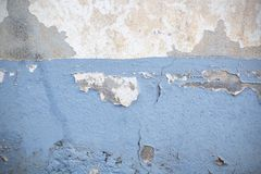Dark Plaster Wall With Dirty White Background. And old Brickwall With Peel Grey Stucco Texture. Retro Vintage Worn Wall Wallpaper. Decayed Cracked Rough Stock Image