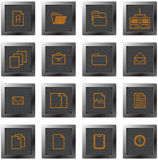 buttons set with pixel drawing menu symbols Royalty Free Stock Photos
